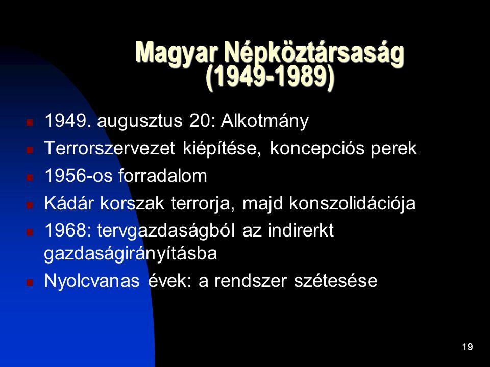 19 Magyar Népköztársaság (1949-1989)  1949.