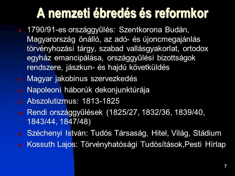 7 A nemzeti ébredés és reformkor  1790/91-es országgyűlés: Szentkorona Budán, Magyarország önálló, az adó- és újoncmegajánlás törvényhozási tárgy, szabad vallásgyakorlat, ortodox egyház emancipálása, országgyűlési bizottságok rendszere, jászkun- és hajdú követküldés  Magyar jakobinus szervezkedés  Napoleoni háborúk dekonjunktúrája  Abszolutizmus: 1813-1825  Rendi országgyűlések (1825/27, 1832/36, 1839/40, 1843/44, 1847/48)  Széchenyi István: Tudós Társaság, Hitel, Világ, Stádium  Kossuth Lajos: Törvényhatósági Tudósítások,Pesti Hírlap