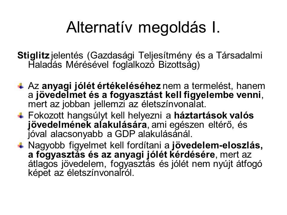 Alternatív megoldás I. Stiglitz jelentés (Gazdasági Teljesítmény és a Társadalmi Haladás Mérésével foglalkozó Bizottság) Az anyagi jólét értékeléséhez