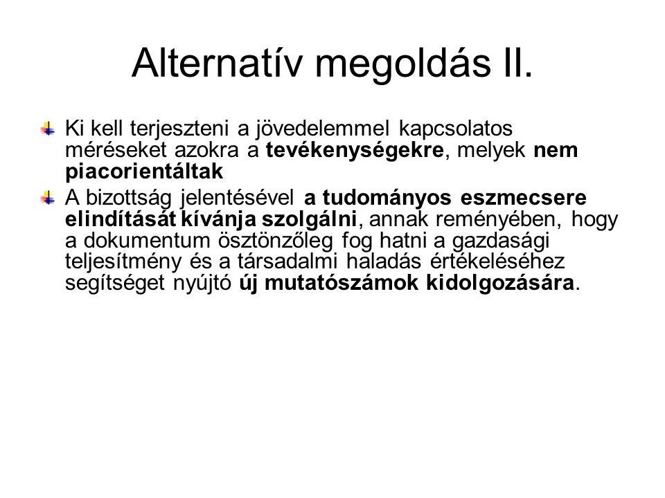 Alternatív megoldás II. Ki kell terjeszteni a jövedelemmel kapcsolatos méréseket azokra a tevékenységekre, melyek nem piacorientáltak A bizottság jele