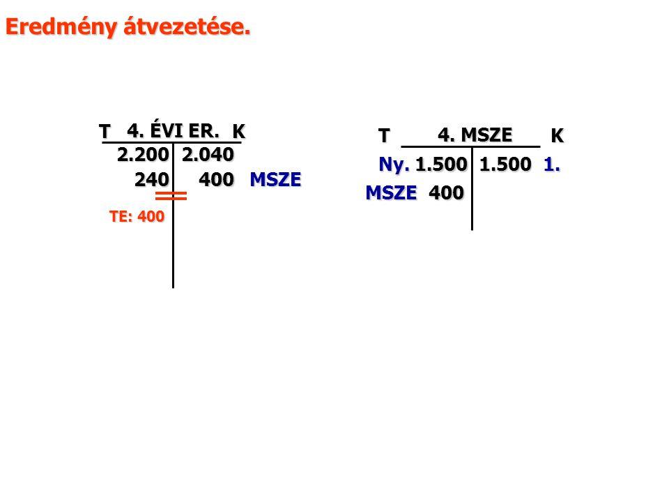 TK 4. ÉVI ER. 2.2002.040 240 Eredmény átvezetése. TK 4. MSZE 1.1.5001.500Ny. MSZE400 MSZE400 TE: 400
