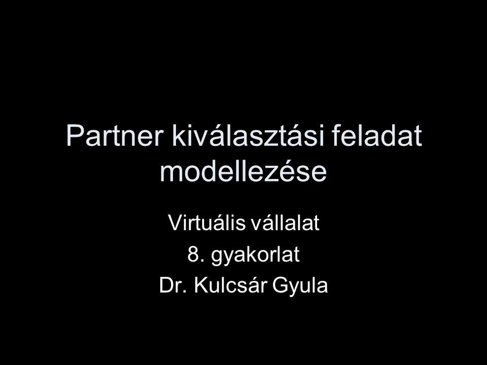 Partner kiválasztási feladat modellezése Virtuális vállalat 8. gyakorlat Dr. Kulcsár Gyula