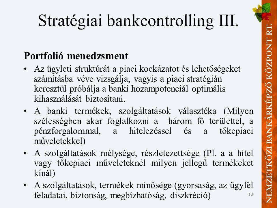 12 Stratégiai bankcontrolling III.