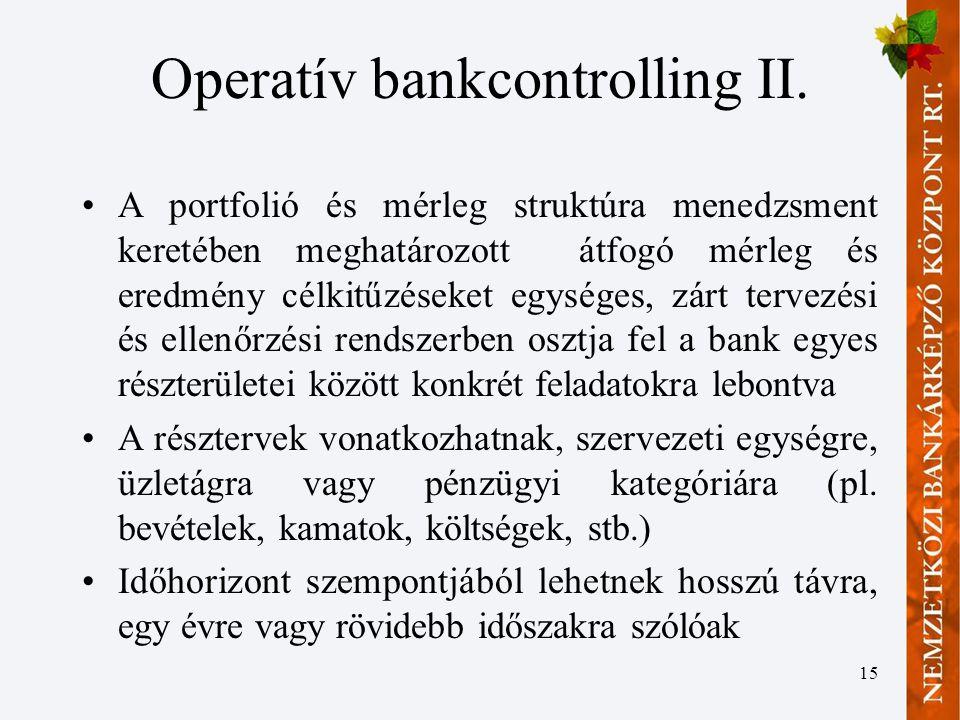 15 Operatív bankcontrolling II.