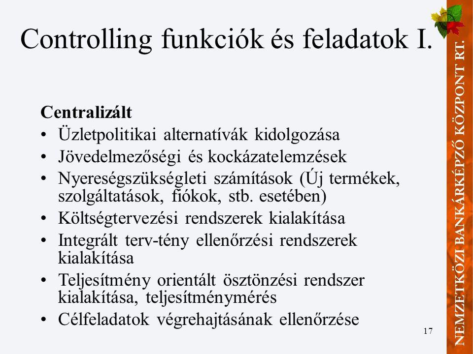 17 Controlling funkciók és feladatok I.
