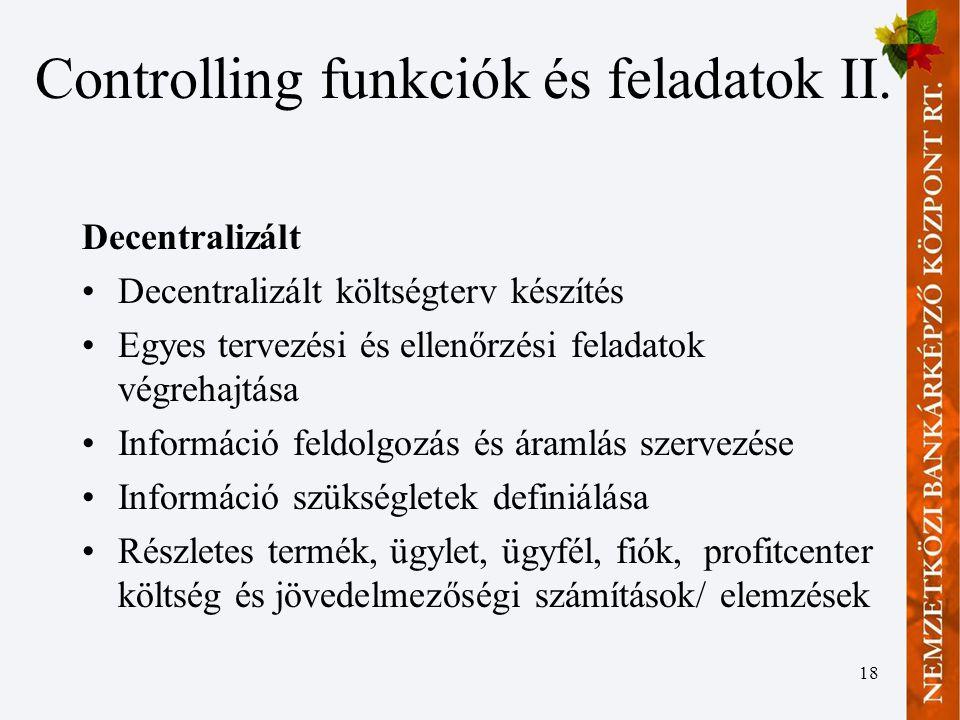 18 Controlling funkciók és feladatok II.
