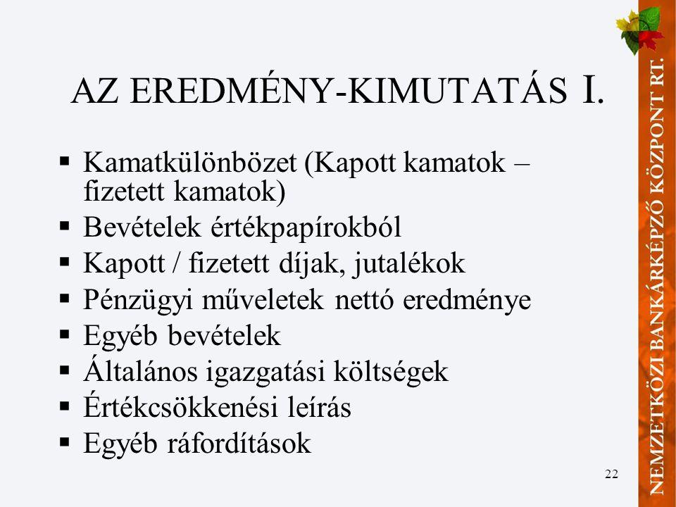 22 AZ EREDMÉNY-KIMUTATÁS I.