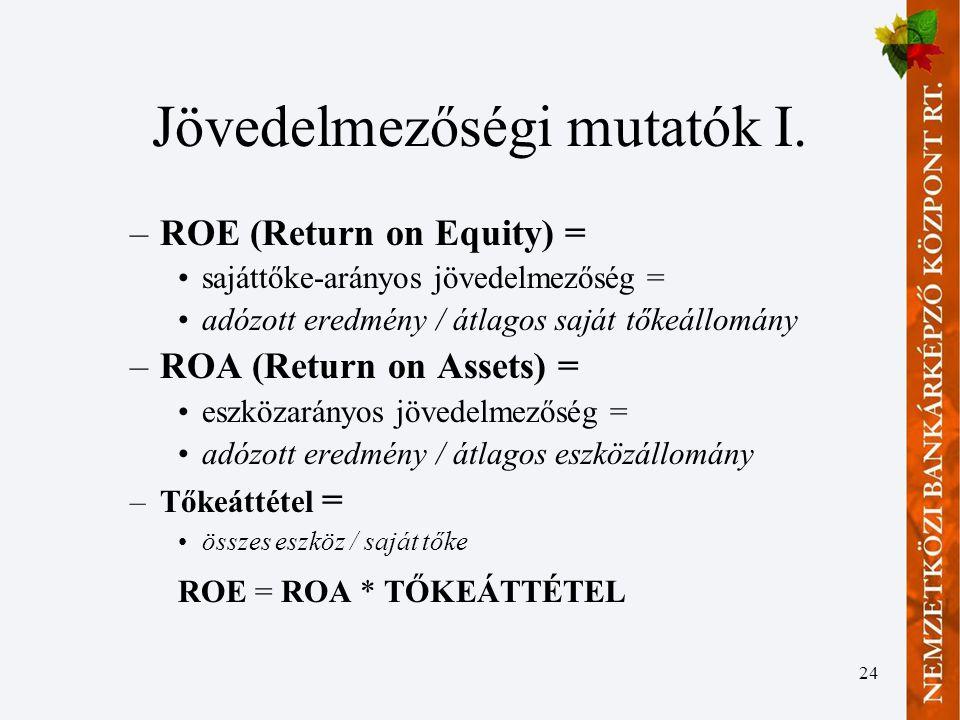 24 Jövedelmezőségi mutatók I.