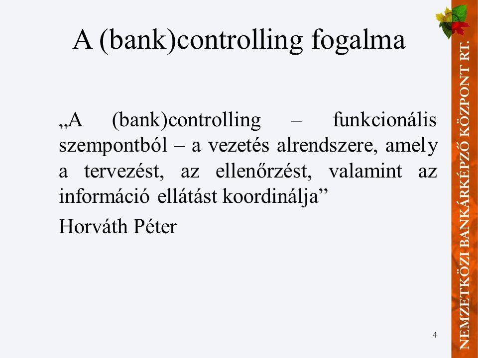 """4 A (bank)controlling fogalma """"A (bank)controlling – funkcionális szempontból – a vezetés alrendszere, amely a tervezést, az ellenőrzést, valamint az információ ellátást koordinálja Horváth Péter"""