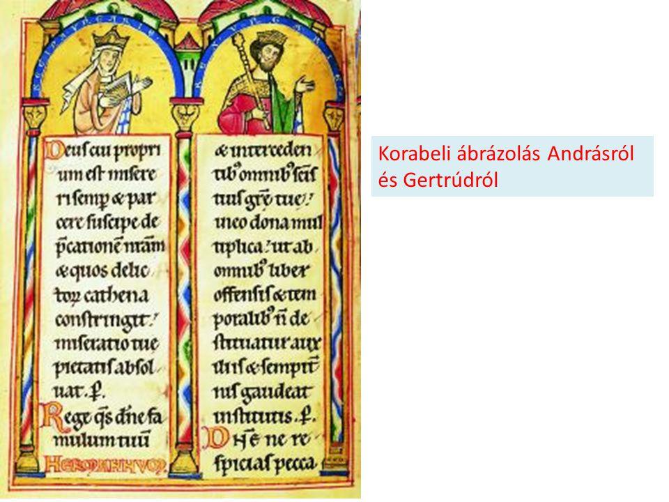 Korabeli ábrázolás Andrásról és Gertrúdról