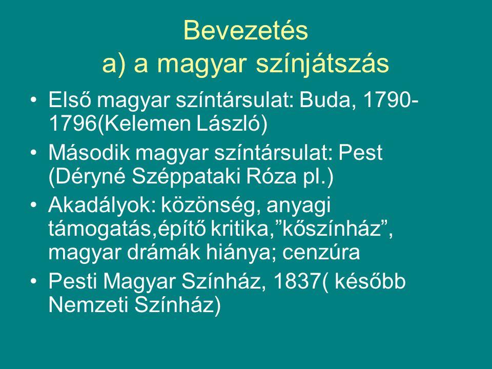 Bevezetés a) a magyar színjátszás •Első magyar színtársulat: Buda, 1790- 1796(Kelemen László) •Második magyar színtársulat: Pest (Déryné Széppataki Ró