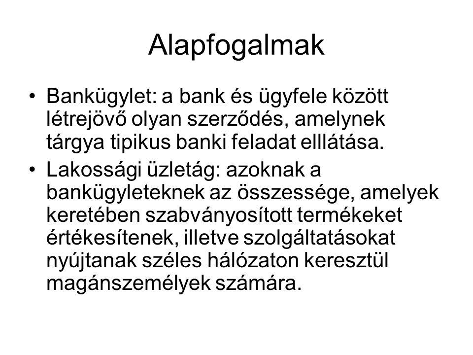 Alapfogalmak •Bankügylet: a bank és ügyfele között létrejövő olyan szerződés, amelynek tárgya tipikus banki feladat elllátása. •Lakossági üzletág: azo