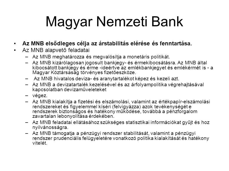 Magyar Nemzeti Bank •Az MNB elsődleges célja az árstabilitás elérése és fenntartása. •Az MNB alapvető feladatai –Az MNB meghatározza és megvalósítja a