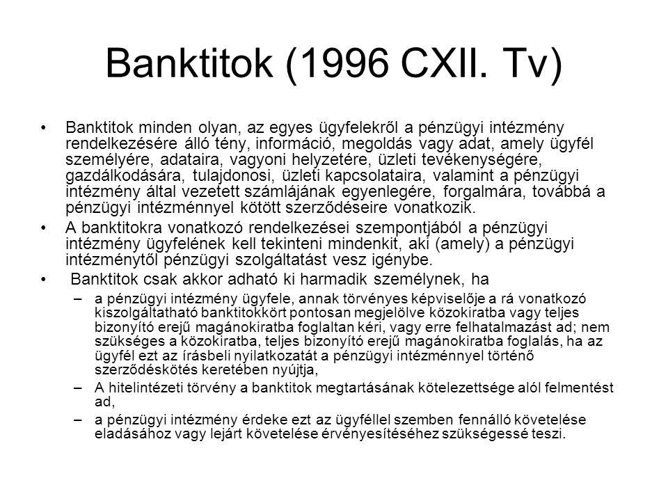 Banktitok (1996 CXII. Tv) •Banktitok minden olyan, az egyes ügyfelekről a pénzügyi intézmény rendelkezésére álló tény, információ, megoldás vagy adat,