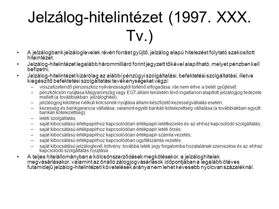 Jelzálog-hitelintézet (1997. XXX. Tv.) •A jelzálogbank jelzáloglevelek révén forrást gyűjtő, jelzálog alapú hitelezést folytató szakosított hiteintéze
