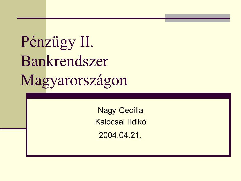 Pénzügy II. Bankrendszer Magyarországon Nagy Cecília Kalocsai Ildikó 2004.04.21.
