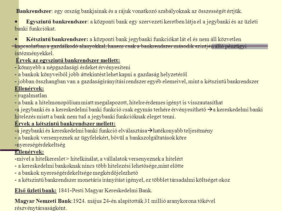 Bankrendszer: egy ország bankjainak és a rájuk vonatkozó szabályoknak az összességét értjük.  Egyszintű bankrendszer: a központi bank egy szervezeti