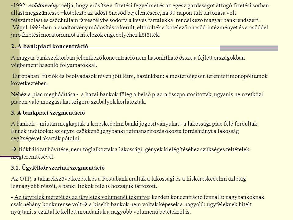 -1992: csődtörvény: célja, hogy erősítse a fizetési fegyelmet és az egész gazdaságot átfogó fizetési sorban állást megszüntesse +kötelezte az adóst öncsőd bejelentésére, ha 90 napon túli tartozása volt felszámolási és csődhullám  veszélybe sodorta a kevés tartalékkal rendelkező magyar bankrendszert.