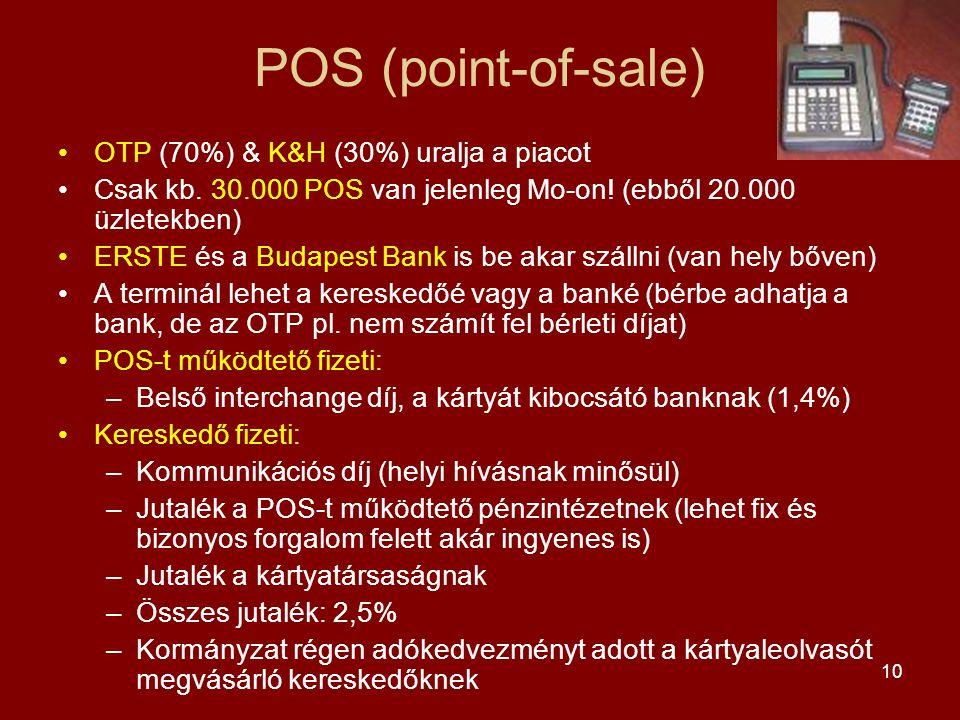 10 POS (point-of-sale) •OTP (70%) & K&H (30%) uralja a piacot •Csak kb. 30.000 POS van jelenleg Mo-on! (ebből 20.000 üzletekben) •ERSTE és a Budapest