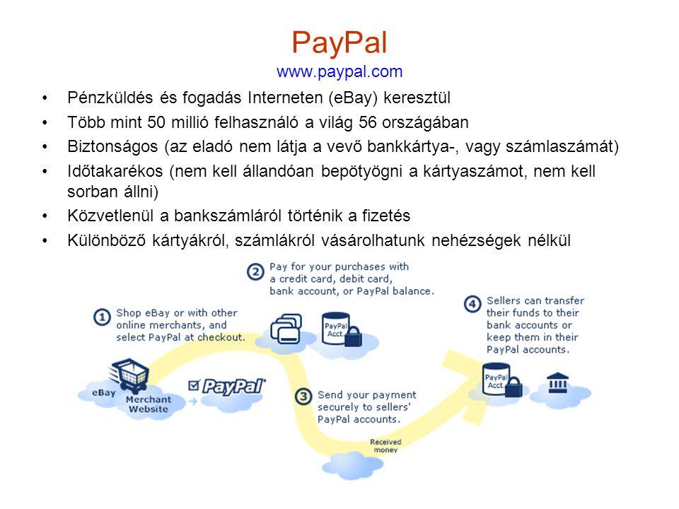 14 PayPal www.paypal.com •Pénzküldés és fogadás Interneten (eBay) keresztül •Több mint 50 millió felhasználó a világ 56 országában •Biztonságos (az eladó nem látja a vevő bankkártya-, vagy számlaszámát) •Időtakarékos (nem kell állandóan bepötyögni a kártyaszámot, nem kell sorban állni) •Közvetlenül a bankszámláról történik a fizetés •Különböző kártyákról, számlákról vásárolhatunk nehézségek nélkül