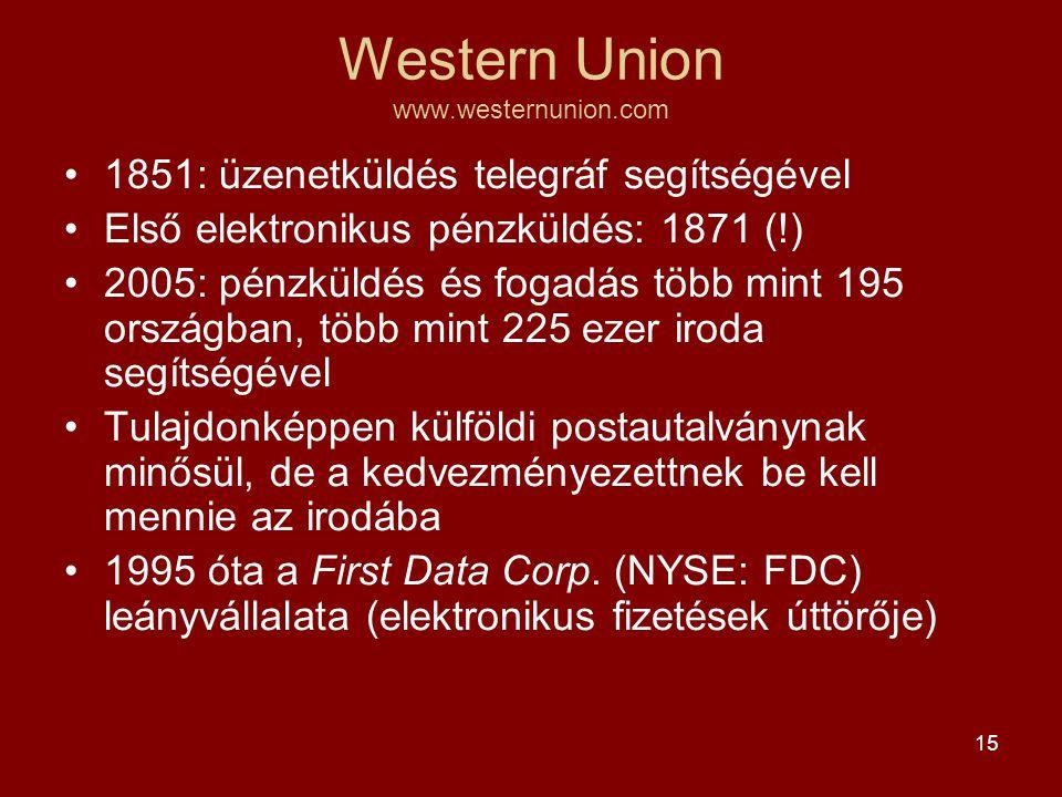 15 Western Union www.westernunion.com •1851: üzenetküldés telegráf segítségével •Első elektronikus pénzküldés: 1871 (!) •2005: pénzküldés és fogadás több mint 195 országban, több mint 225 ezer iroda segítségével •Tulajdonképpen külföldi postautalványnak minősül, de a kedvezményezettnek be kell mennie az irodába •1995 óta a First Data Corp.