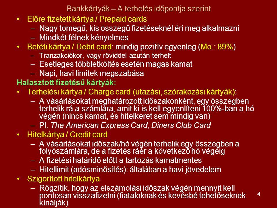 4 Bankkártyák – A terhelés időpontja szerint •Előre fizetett kártya / Prepaid cards –Nagy tömegű, kis összegű fizetéseknél éri meg alkalmazni –Mindkét félnek kényelmes •Betéti kártya / Debit card: mindig pozitív egyenleg (Mo.: 89%) –Tranzakciókor, vagy röviddel azután terhelt –Esetleges többletköltés esetén magas kamat –Napi, havi limitek megszabása Halasztott fizetésű kártyák: •Terhelési kártya / Charge card (utazási, szórakozási kártyák): –A vásárlásokat meghatározott időszakonként, egy összegben terhelik rá a számlára, amit ki is kell egyenlíteni 100%-ban a hó végén (nincs kamat, és hitelkeret sem mindig van) –Pl.