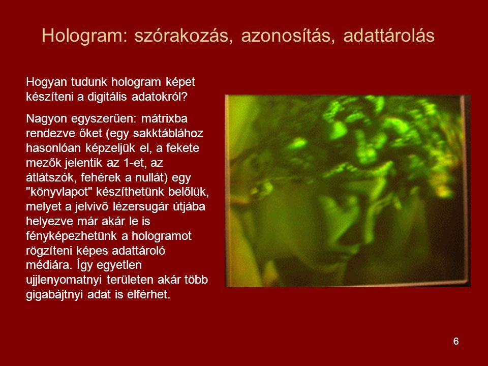 6 Hologram: szórakozás, azonosítás, adattárolás Hogyan tudunk hologram képet készíteni a digitális adatokról.