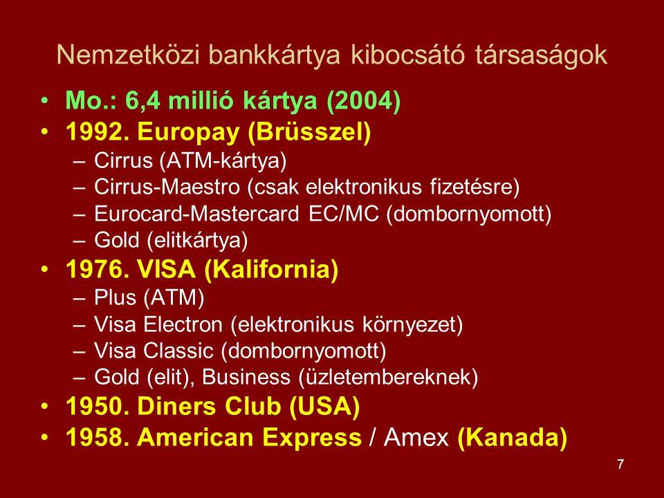 7 Nemzetközi bankkártya kibocsátó társaságok •Mo.: 6,4 millió kártya (2004) •1992. Europay (Brüsszel) –Cirrus (ATM-kártya) –Cirrus-Maestro (csak elekt