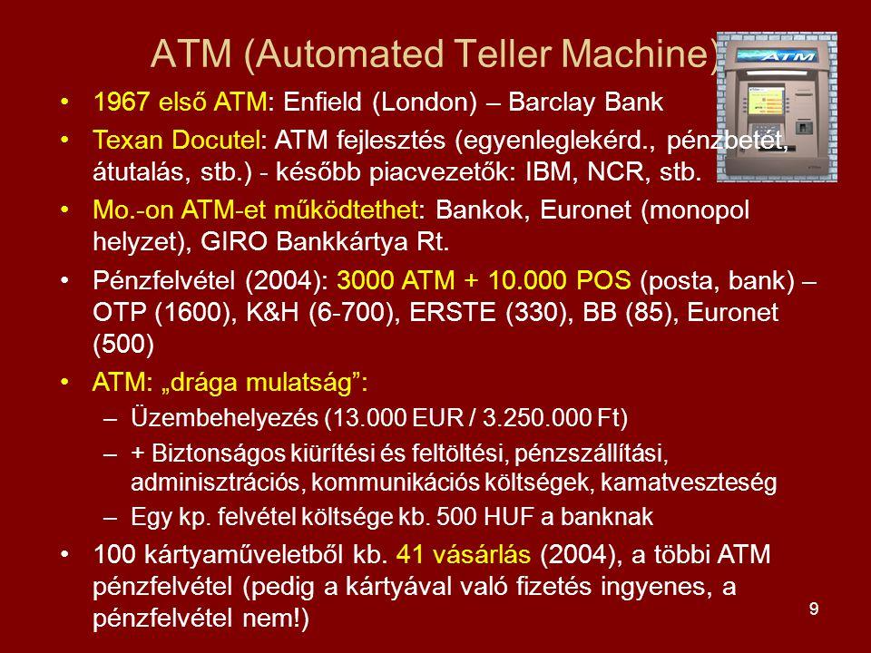 9 ATM (Automated Teller Machine) •1967 első ATM: Enfield (London) – Barclay Bank •Texan Docutel: ATM fejlesztés (egyenleglekérd., pénzbetét, átutalás, stb.) - később piacvezetők: IBM, NCR, stb.