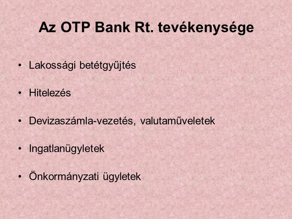 Az OTP Bank Rt. tevékenysége •Lakossági betétgyűjtés •Hitelezés •Devizaszámla-vezetés, valutaműveletek •Ingatlanügyletek •Önkormányzati ügyletek
