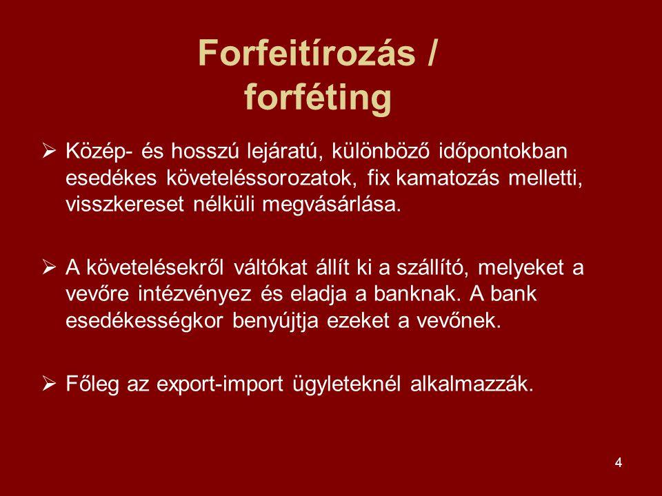 4 Forfeitírozás / forféting  Közép- és hosszú lejáratú, különböző időpontokban esedékes követeléssorozatok, fix kamatozás melletti, visszkereset nélküli megvásárlása.