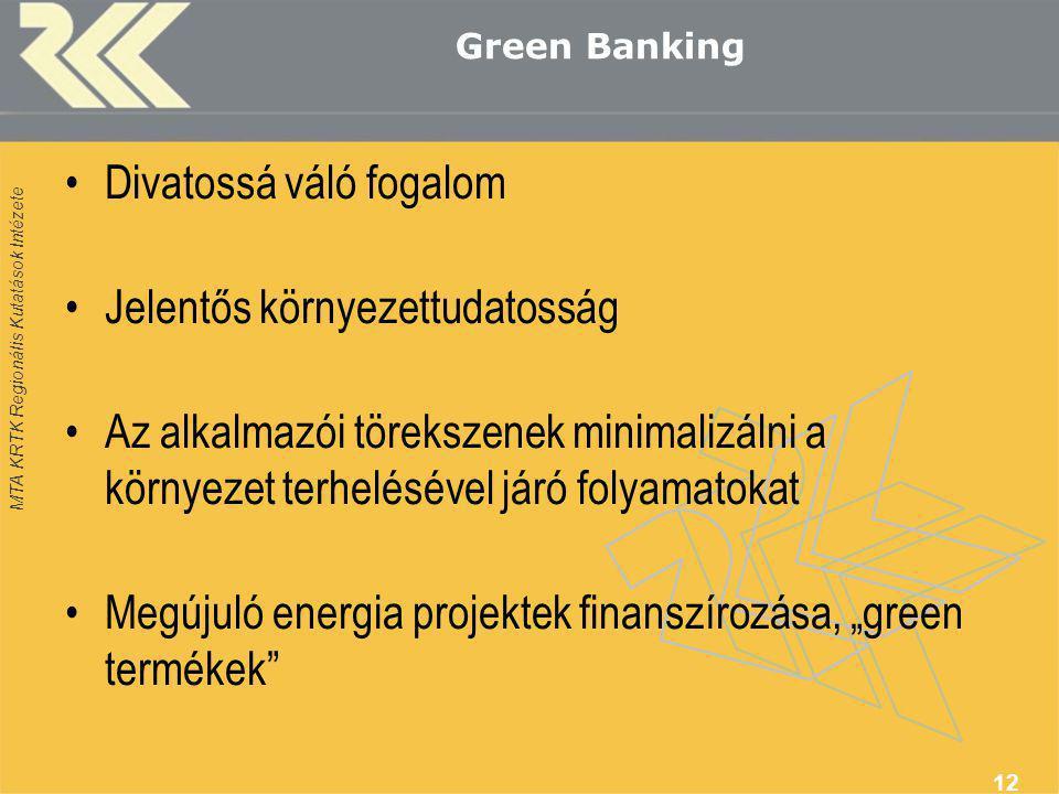 """MTA KRTK Regionális Kutatások Intézete Green Banking •Divatossá váló fogalom •Jelentős környezettudatosság •Az alkalmazói törekszenek minimalizálni a környezet terhelésével járó folyamatokat •Megújuló energia projektek finanszírozása, """"green termékek 12"""