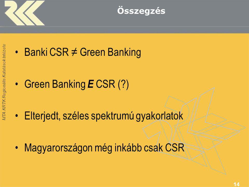 MTA KRTK Regionális Kutatások Intézete Összegzés •Banki CSR ≠ Green Banking •Green Banking Е CSR (?) •Elterjedt, széles spektrumú gyakorlatok •Magyaro