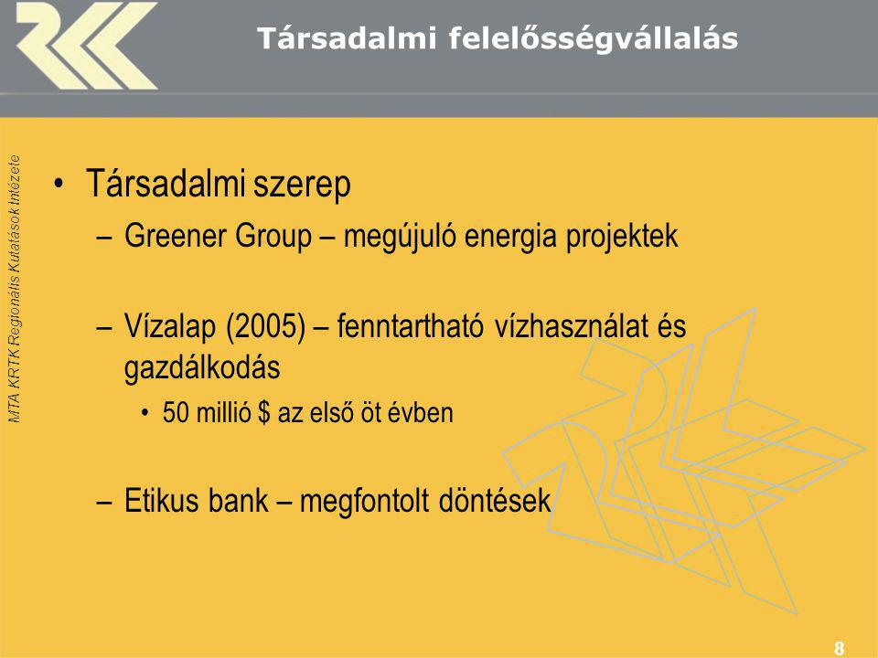 Társadalmi felelősségvállalás •Társadalmi szerep –Greener Group – megújuló energia projektek –Vízalap (2005) – fenntartható vízhasználat és gazdálkodás •50 millió $ az első öt évben –Etikus bank – megfontolt döntések 8