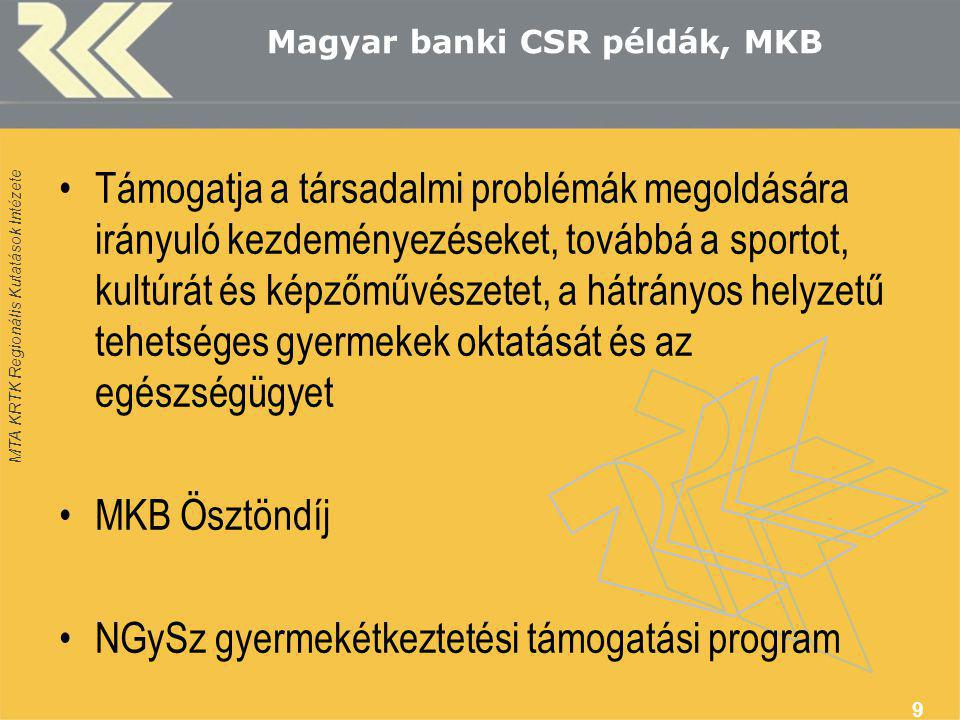MTA KRTK Regionális Kutatások Intézete Magyar banki CSR példák, MKB •Támogatja a társadalmi problémák megoldására irányuló kezdeményezéseket, továbbá a sportot, kultúrát és képzőművészetet, a hátrányos helyzetű tehetséges gyermekek oktatását és az egészségügyet •MKB Ösztöndíj •NGySz gyermekétkeztetési támogatási program 9