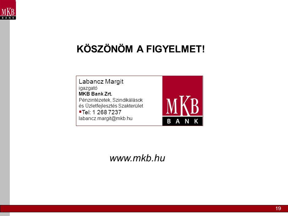 19 www.mkb.hu KÖSZÖNÖM A FIGYELMET! Labancz Margit igazgató MKB Bank Zrt. Pénzintézetek, Szindikálások és Üzletfejlesztés Szakterület  Tel: 1 268 723