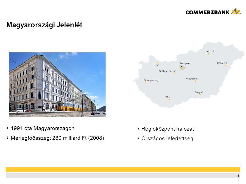 11 Magyarországi Jelenlét 1991 óta Magyarországon Mérlegfőösszeg: 280 milliárd Ft (2008) Régióközpont hálózat Országos lefedettség
