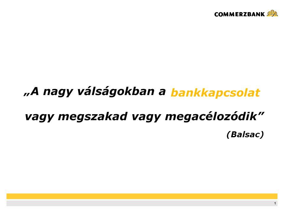12 Commerzbank Győri Régióközpont Ideiglenes Iroda Győrben 2007 januártól Modern Régióközpont a Duna-parton 2008 júniustól Ügyfélkör: 100 vállalati ügyfél, köztük –Magyar nagyvállalatok –Multinacionális cégek –Kis- és Középvállalatok –Cégtulajdonosok, vállalatvezetők Hitelportfólió: –14 milliárd Ft ügyfélhitel állomány