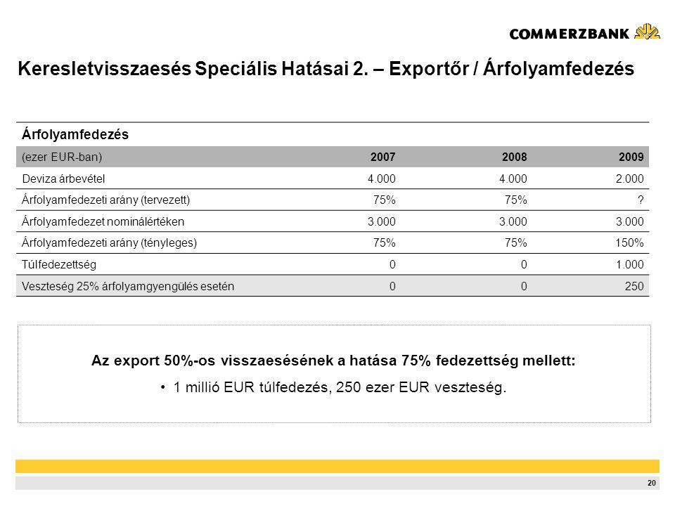 20 Árfolyamfedezés (ezer EUR-ban)200720082009 Deviza árbevétel4.000 2.000 Árfolyamfedezeti arány (tervezett)75% .