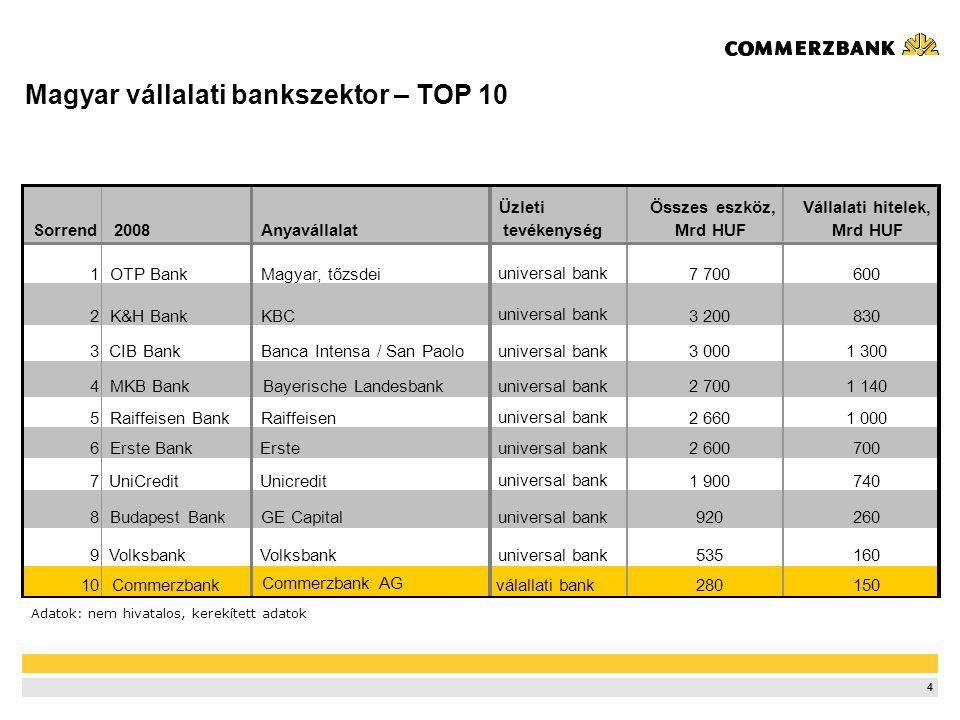 4 Magyar vállalati bankszektor – TOP 10 Sorrend 2008Anyavállalat Üzleti tevékenység Összes eszköz, Mrd HUF Vállalati hitelek, Mrd HUF 1OTP BankMagyar,