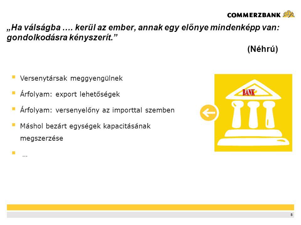 """9 """"ÉRTÉKÁLLÓ BIZALOM, AVAGY A BANK ÉS VÁLLALATI ÜGYFÉLKAPCSOLATOK A VÁLSÁGBAN Miklósy Péter Commerzbank Zrt."""