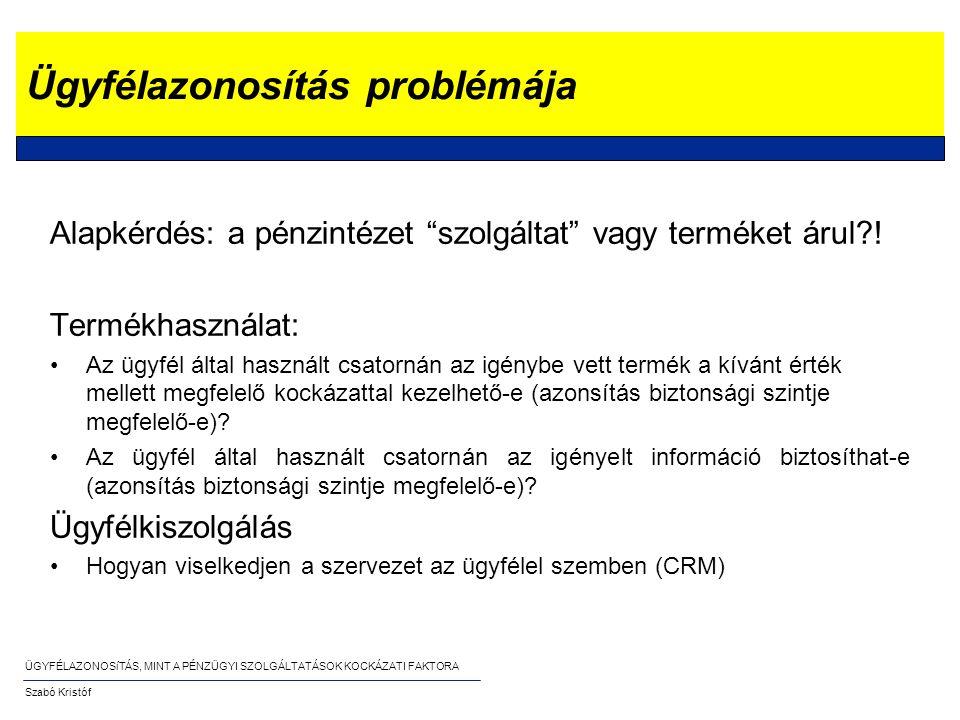"""ÜGYFÉLAZONOSíTÁS, MINT A PÉNZÜGYI SZOLGÁLTATÁSOK KOCKÁZATI FAKTORA Szabó Kristóf Ügyfélazonosítás problémája Alapkérdés: a pénzintézet """"szolgáltat"""" va"""