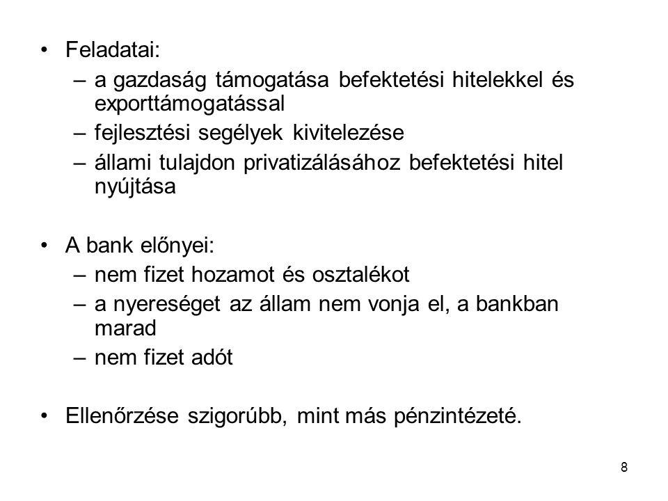 A magyar bankrendszer kialakulása A Magyar Fejlesztési Bank szerepe a bankrendszer különböző fejlődési szakaszaiban