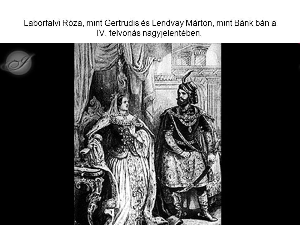 Laborfalvi Róza, mint Gertrudis és Lendvay Márton, mint Bánk bán a IV. felvonás nagyjelentében.