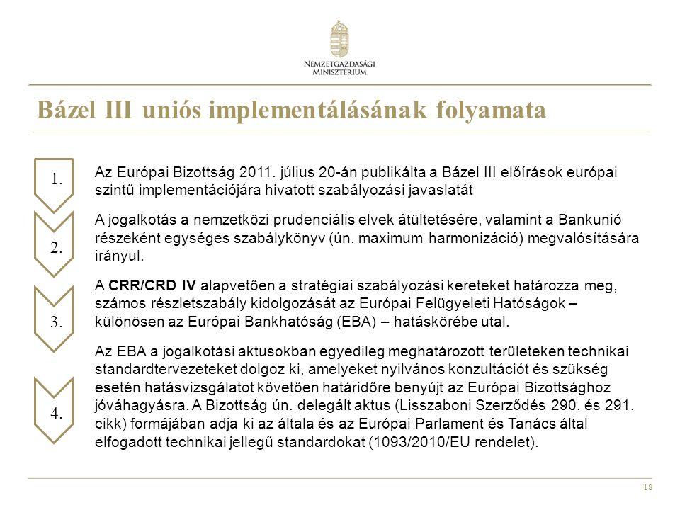 18 Az Európai Bizottság 2011. július 20-án publikálta a Bázel III előírások európai szintű implementációjára hivatott szabályozási javaslatát A jogalk