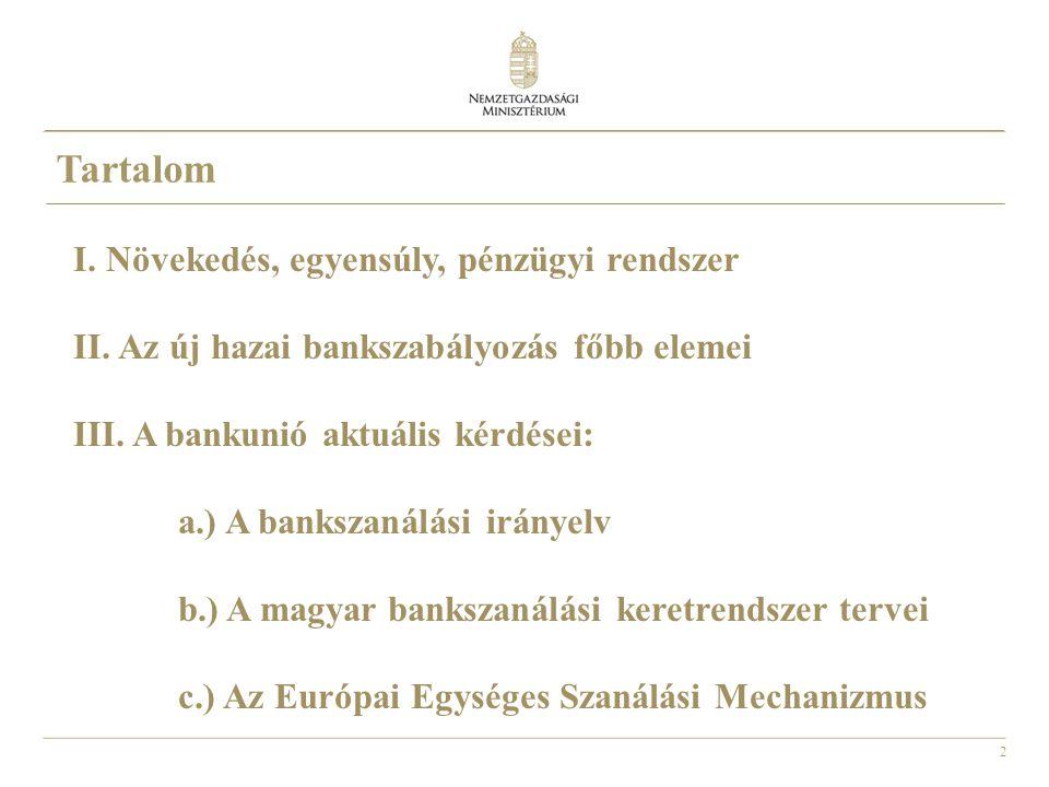 2 Tartalom I. Növekedés, egyensúly, pénzügyi rendszer II. Az új hazai bankszabályozás főbb elemei III. A bankunió aktuális kérdései: a.) A bankszanálá