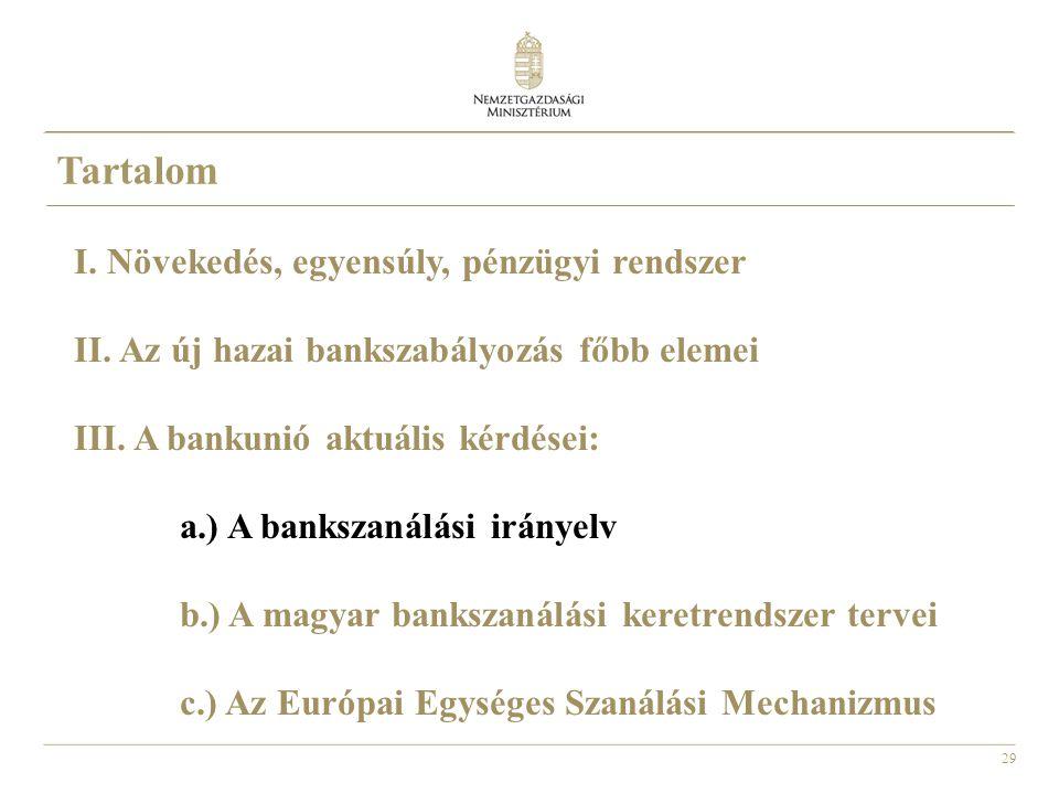 29 Tartalom I. Növekedés, egyensúly, pénzügyi rendszer II. Az új hazai bankszabályozás főbb elemei III. A bankunió aktuális kérdései: a.) A bankszanál