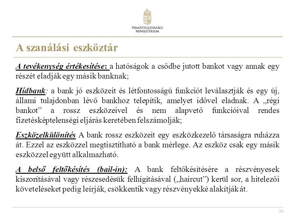 34 A tevékenység értékesítése: a hatóságok a csődbe jutott bankot vagy annak egy részét eladják egy másik banknak; Hídbank: a bank jó eszközeit és lét