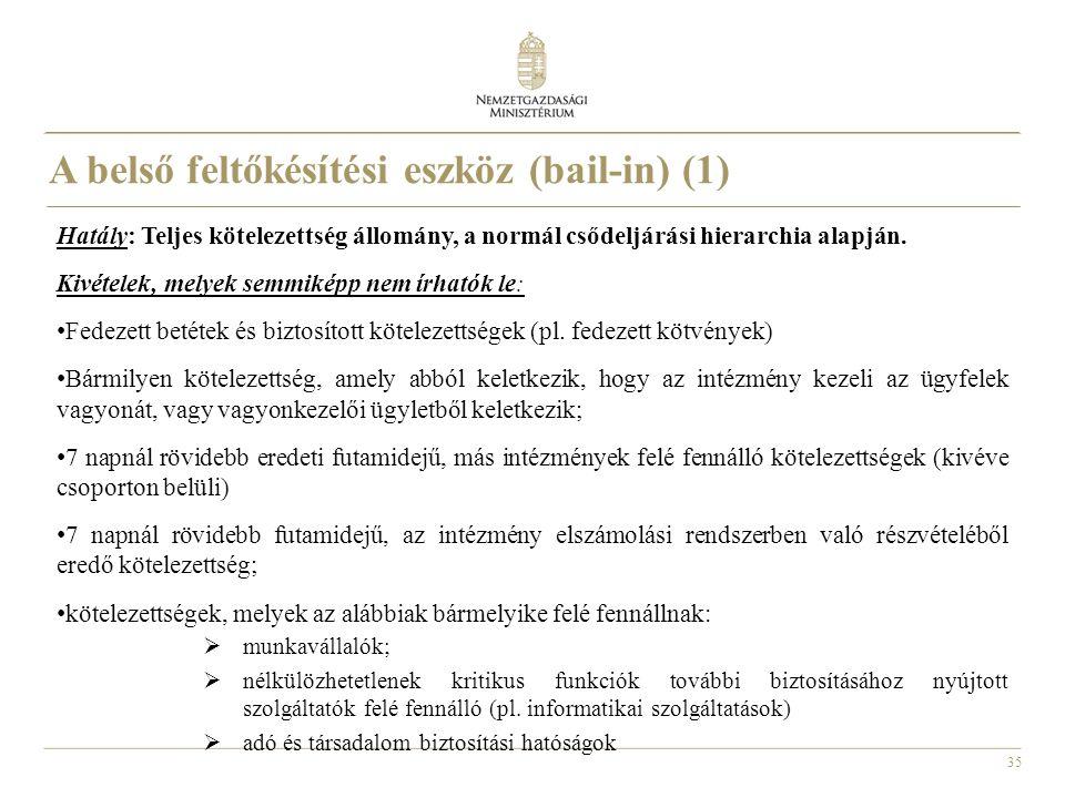 35 A belső feltőkésítési eszköz (bail-in) (1) Hatály: Teljes kötelezettség állomány, a normál csődeljárási hierarchia alapján. Kivételek, melyek semmi