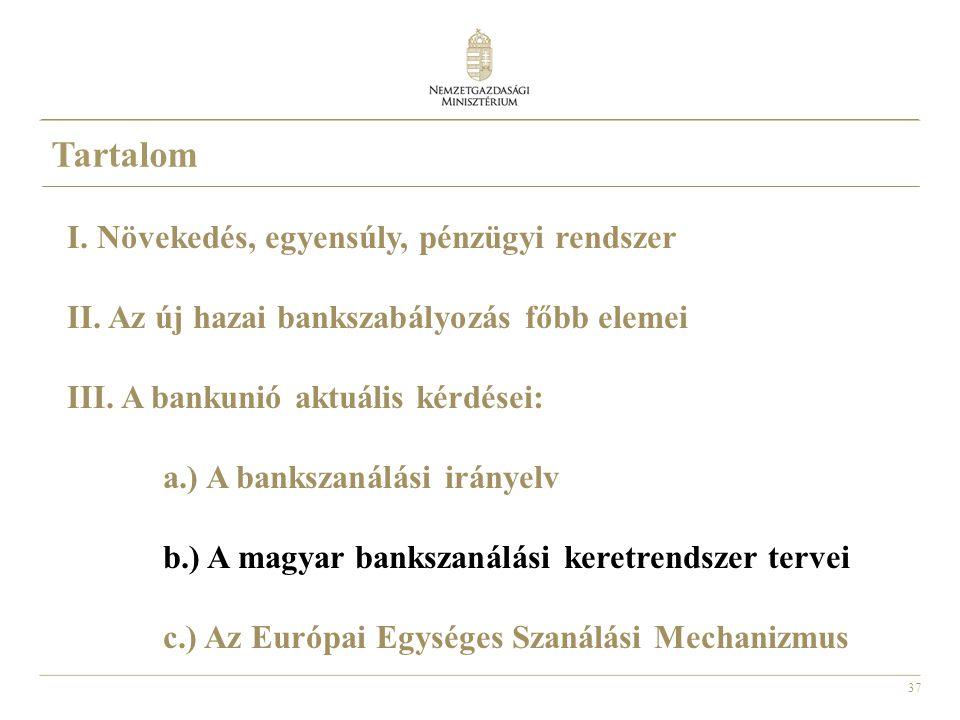 37 Tartalom I. Növekedés, egyensúly, pénzügyi rendszer II. Az új hazai bankszabályozás főbb elemei III. A bankunió aktuális kérdései: a.) A bankszanál